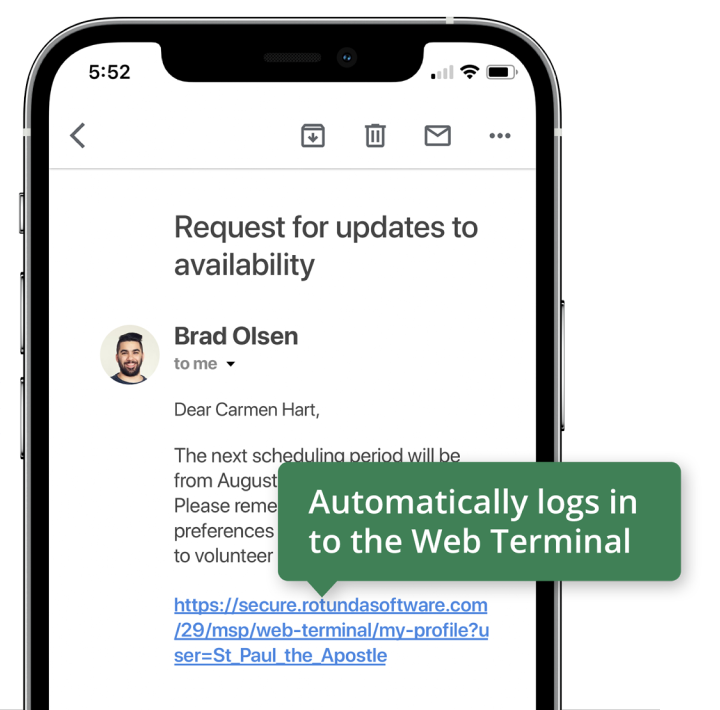 Smartphone showing an email with an auto-login link