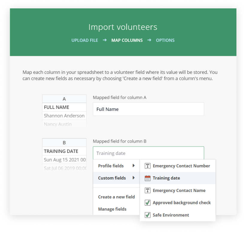 Screenshot of the Import volunteers dialog, showing the Custom fields options