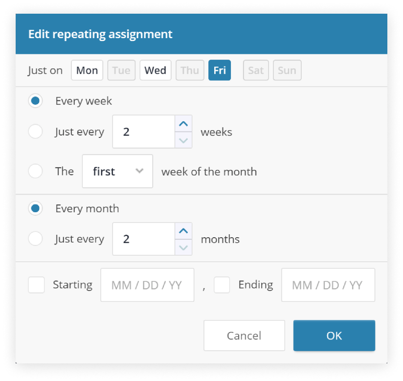 Screenshot of the Edit repeating assignment dialog