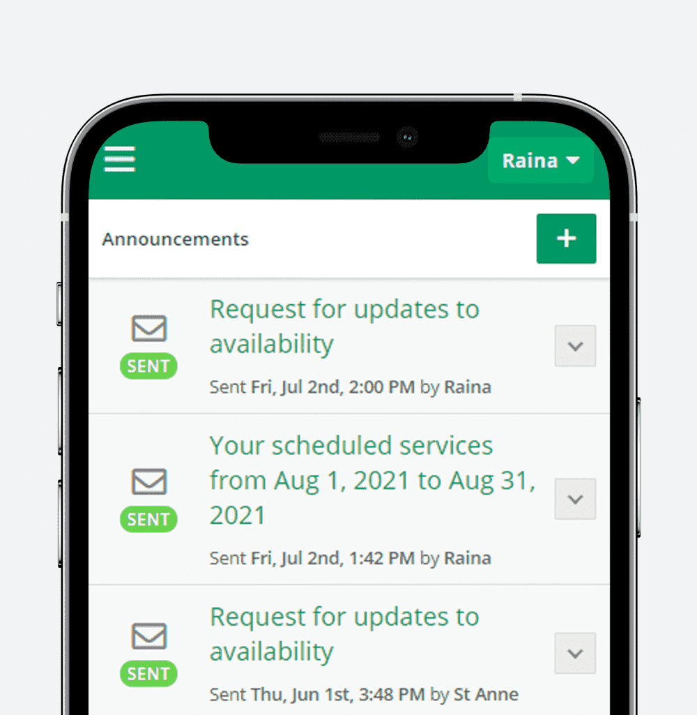 Smartphone showing the Admin View Announcements page