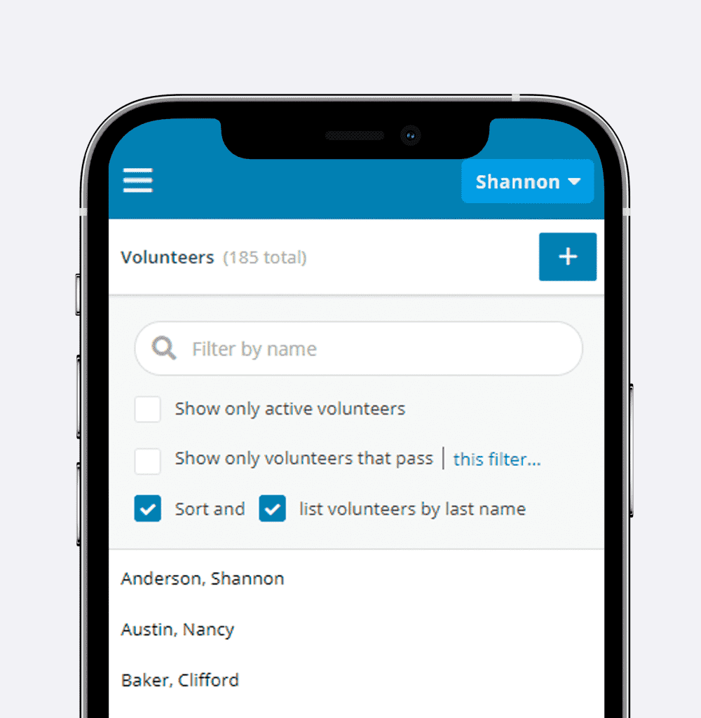 Smartphone showing the Admin View Volunteers page